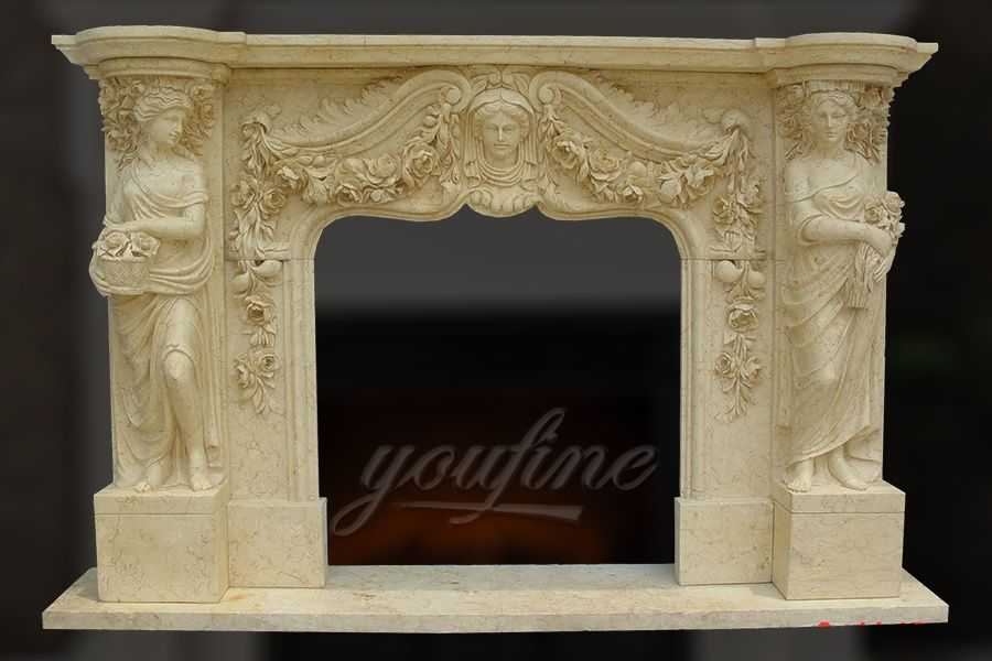 Decorative Classical Beige Marble Fireplace Mantel For
