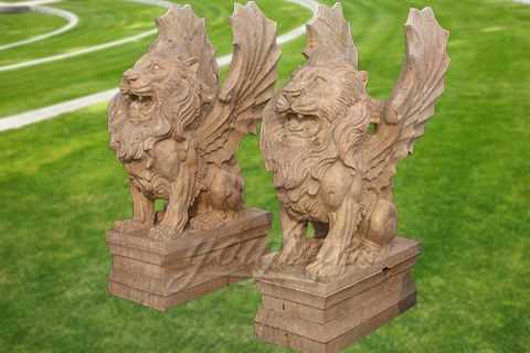 Decorative garden outdoor marble flying lion statues MAWL-10
