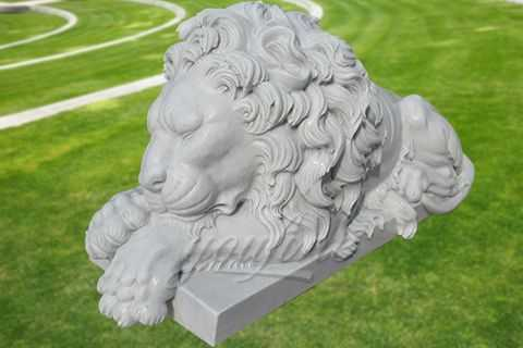 Decorative garden outdoor marble sleeping lion sculpture