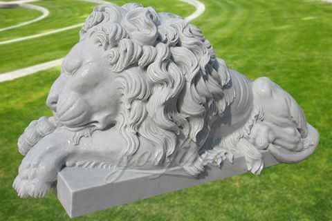 Decorative garden outdoor marble sleeping lion sculpture