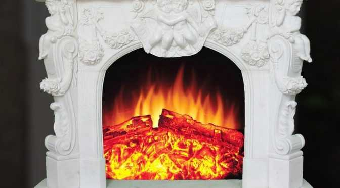 Decorative indoor marble fireplace frame with angel for sale