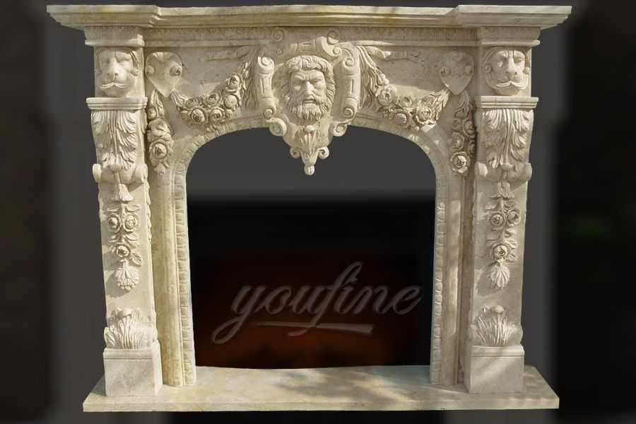 Decorative lion head beige marble fireplace mantel for sale FTSF-02
