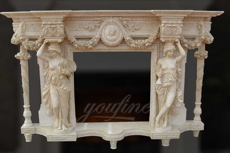 Decorative luxury beige marble fireplace mantel for sale for Marble mantels for sale