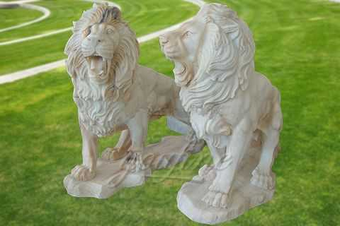 Decorative natural carved marble lion sculpture