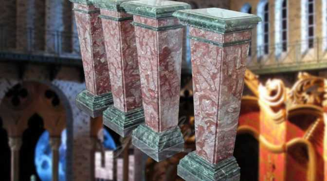 Decorative square multi color marble columns indoor&outdoor