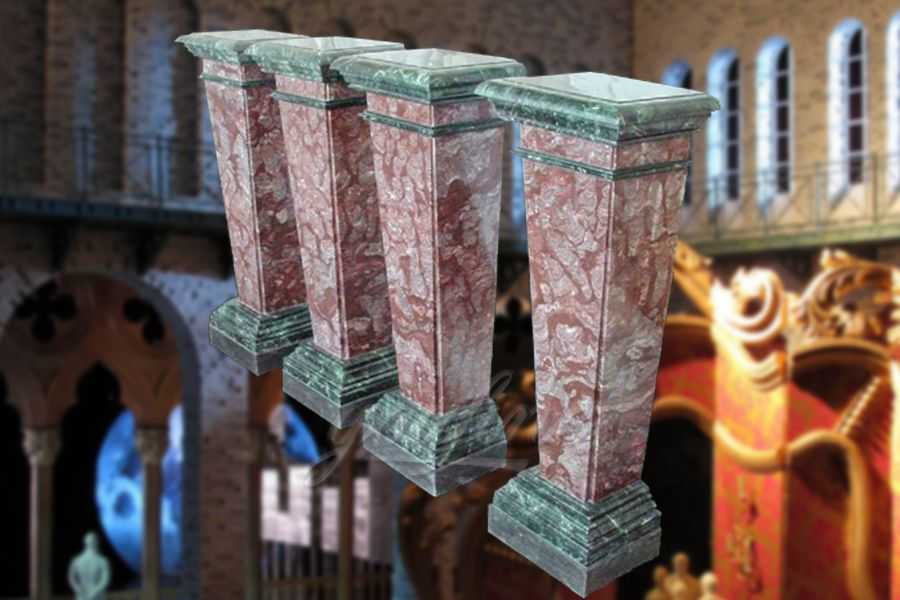 Decorative square multi color marble columns indoor& outdoor ATMC-04