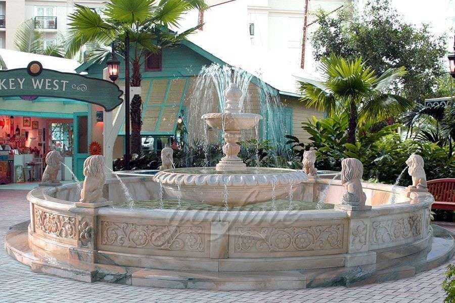 Beautiful Outdoor 2 Tier Lion Head Marble Fountain