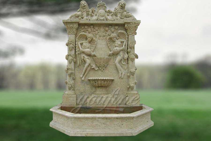 Outdoor Mythical Lion and Angel Marble Wall Fountain