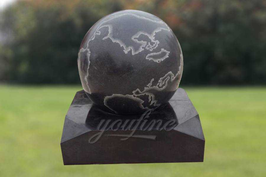 Gorgeous Stone Rolling Sphere Limestone Water Fountain with World Map Figure MFBF-02