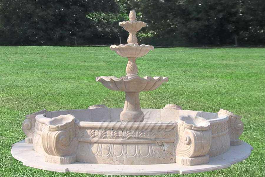 Outdoor Garden Retro 3 Tier Stone Fountain with Basin