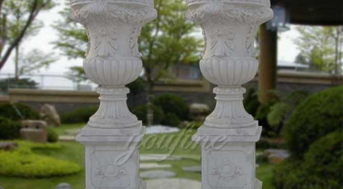 European style white stone vase with pedestal
