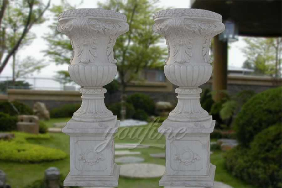 European style white stone vase with pedestal