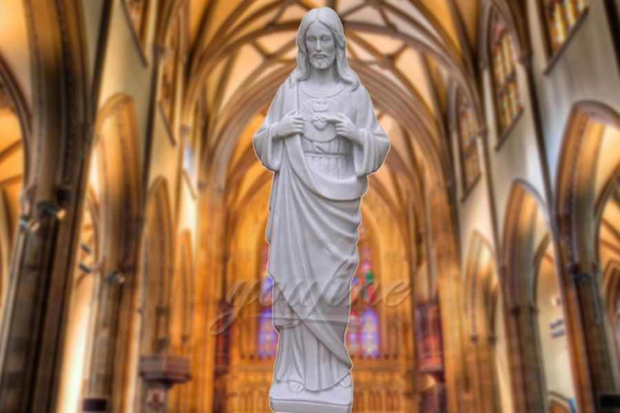 Religious Sacred Heart White Marble Christ Jesus Statue
