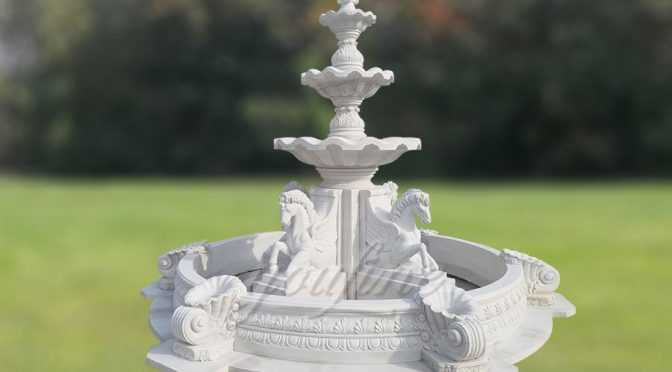 Natural Stone Outdoor Four Seasons 3 Tier White Marble Fountain