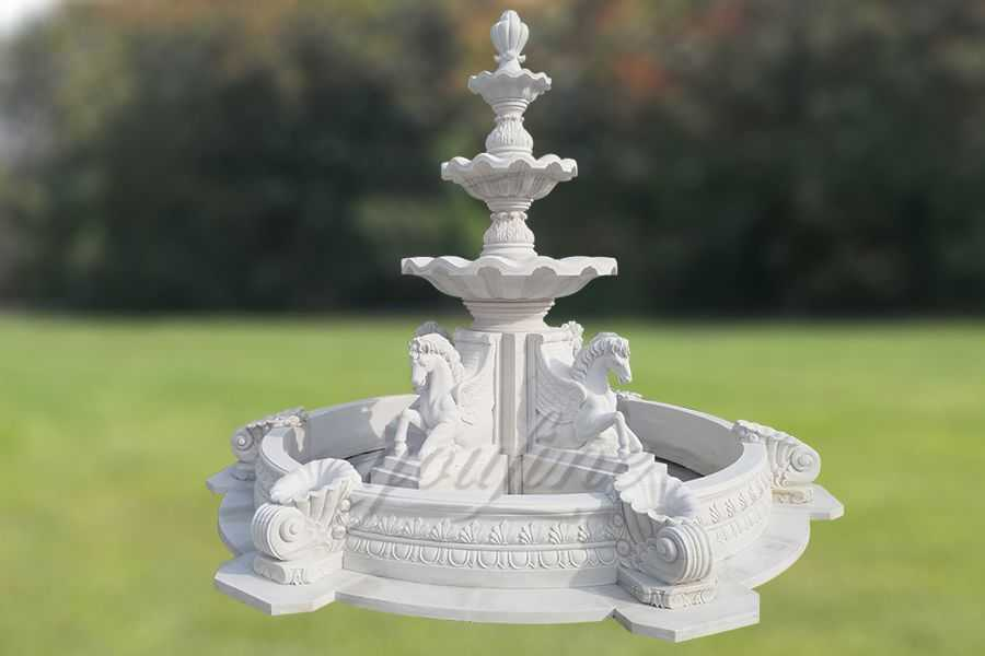 Garden White Marble Horse Water Fountain For Sale MOKK-84