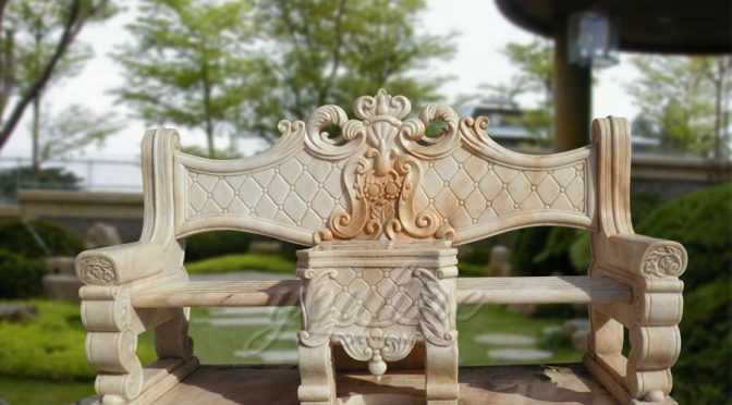 Garden hand carving yellow marble chair