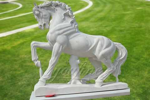 Garden white marble horse sculpture
