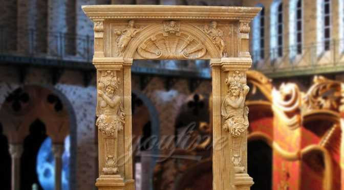 Grant beige marble door surround with statues on sale