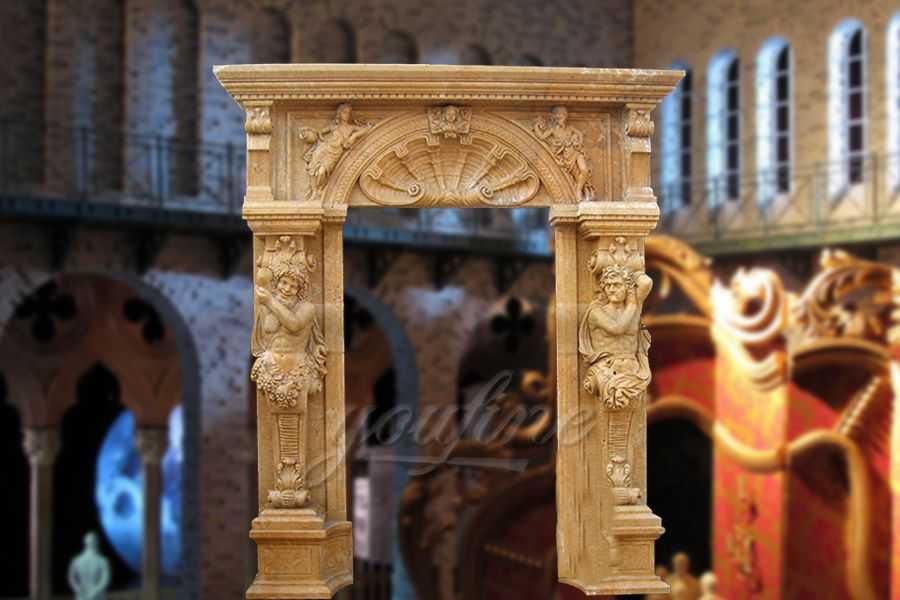 Grant beige marble door surround with statues on sale