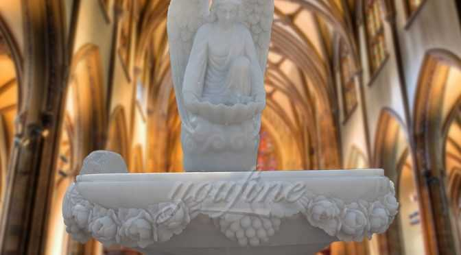 Hand Carved Angel White Marble Baptism Font for Church