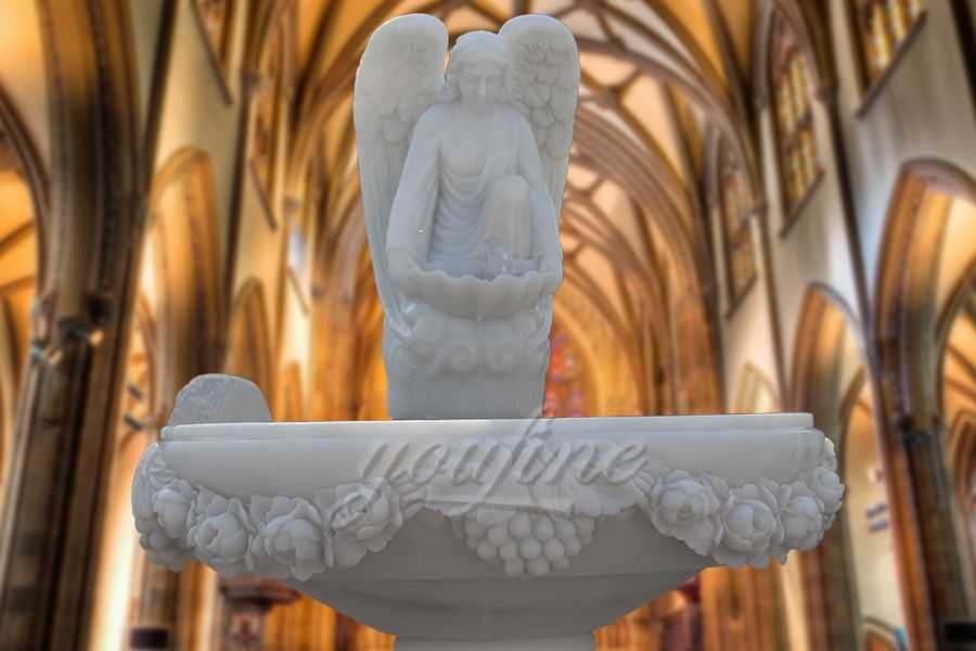 Hand Carved Angel White Marble Baptism Font for Church RSBF-02