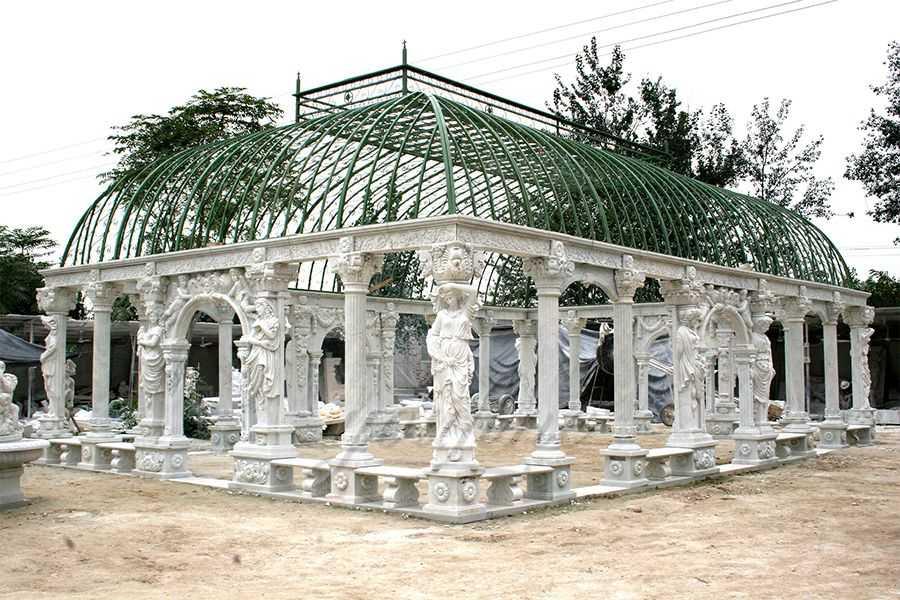 Hand Carved Large Outdoor Garden Marble Gazebo–MOKK-28