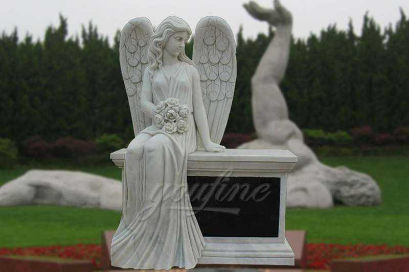 Hand-Carved-Marble-Female-Angel-Headstone