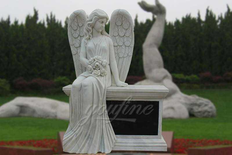 Hand-Carved-Marble-Female-Angel-Headstone
