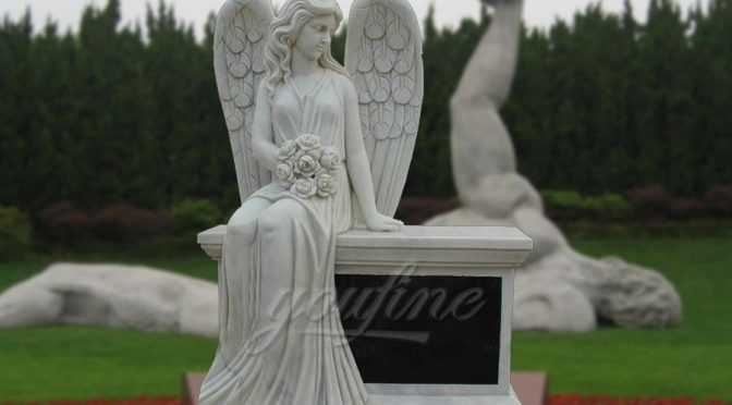 Hand Carved Marble Female Angel Headstone