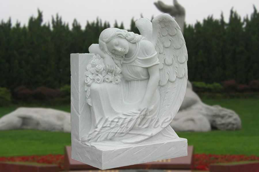 Hand Carved Peaceful Marble Angel Memorial MHMH-02
