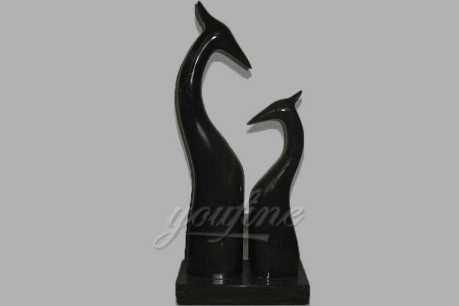 Hand Carving Art Black Marble Abstract Statue