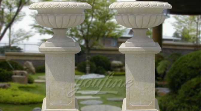 Hand carved garden simple sandstone planter pot