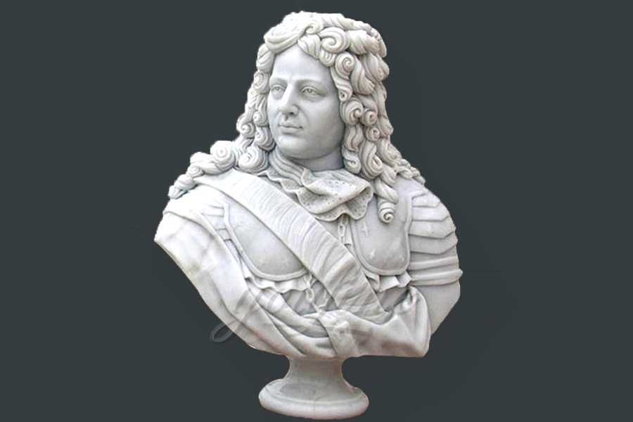 Hand carved marble bust statue of colonial man