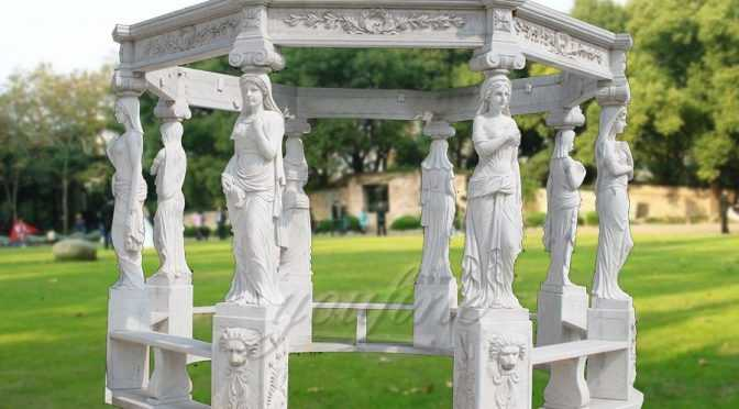 Hand carved natural stone marble garden gazebo for sale