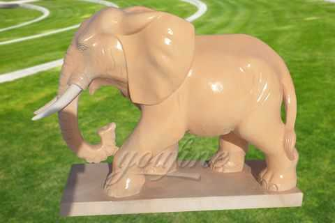Hand carved outdoor garden marble elephant statues