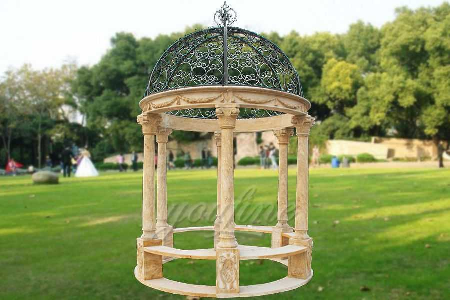 Hand carved round natural stone gazebo for sale MSMG-01