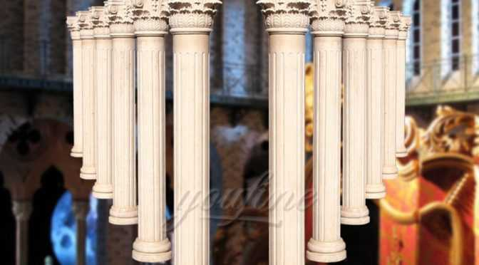 High polished roman hand carved beige marble columns for decoration