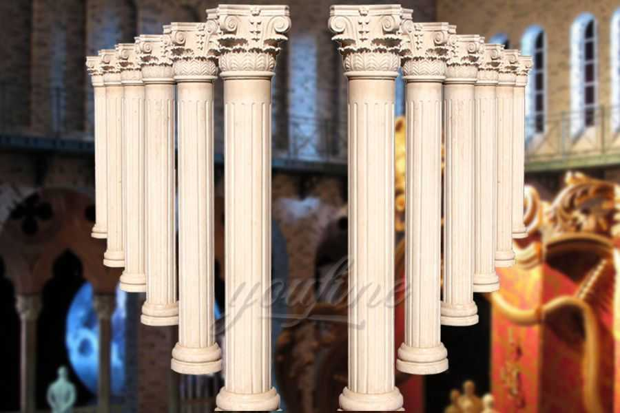 High polished roman hand carved beige marble columns for decoration ATMC-02