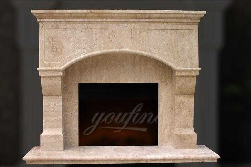 High-quality-Victorian-beige-marble-fireplace-mantel-for-sale