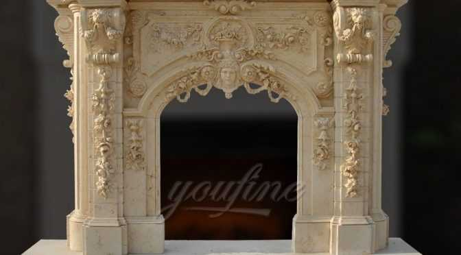 High quality luxury lion head beige Georgian marble fireplace mantel FTGF-04