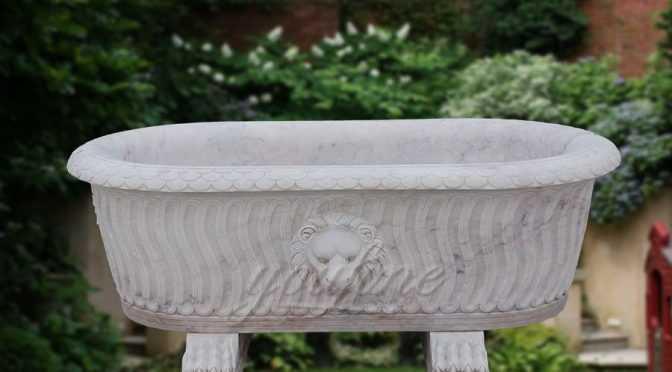High quality luxury white marble lion head bath tub on sale