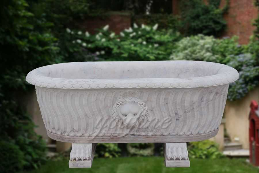 High quality luxury white marble lion head bath tub on sale