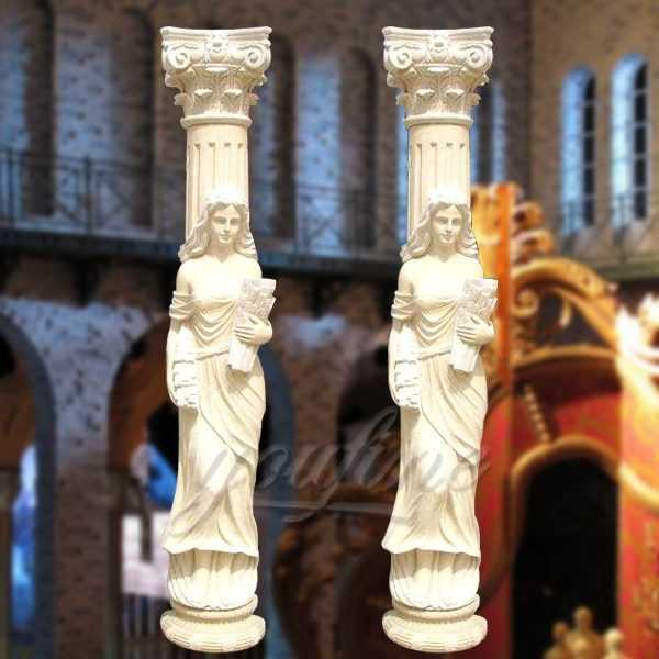 High quality marble columns with statue for wedding decoration for sale