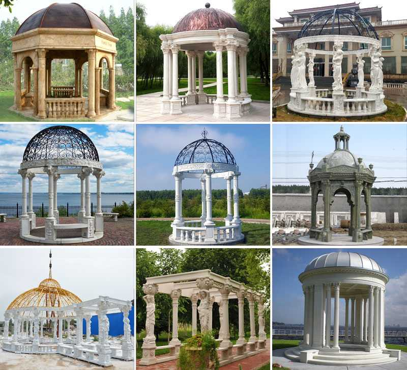 High quality outdoor white marble pergola with maidens gazebo design for yard decoration