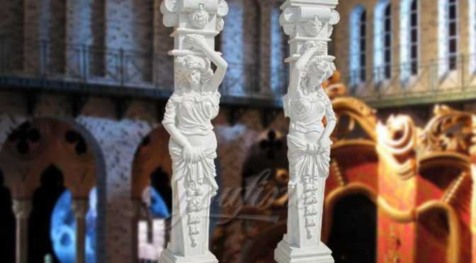 Hot sale white marble columns&pillars with statue indoor&outdoor decoration