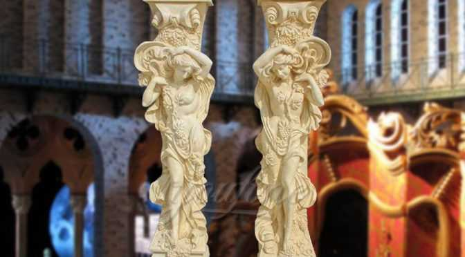 Hot sell female figure beige marble columns for wedding decoration
