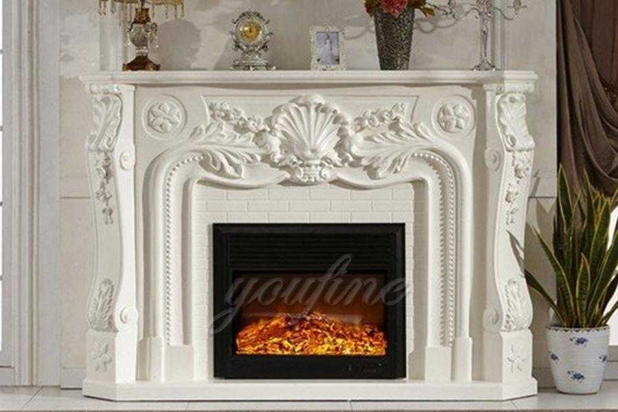 Indoor Decorated French White Marble Fireplace Design