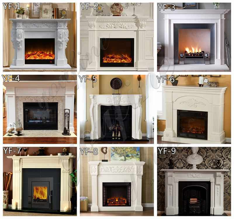 Indoor Victorian white marble fireplace frame