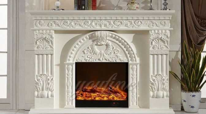 Indoor decorative Regency white marble fireplace mantel on sale