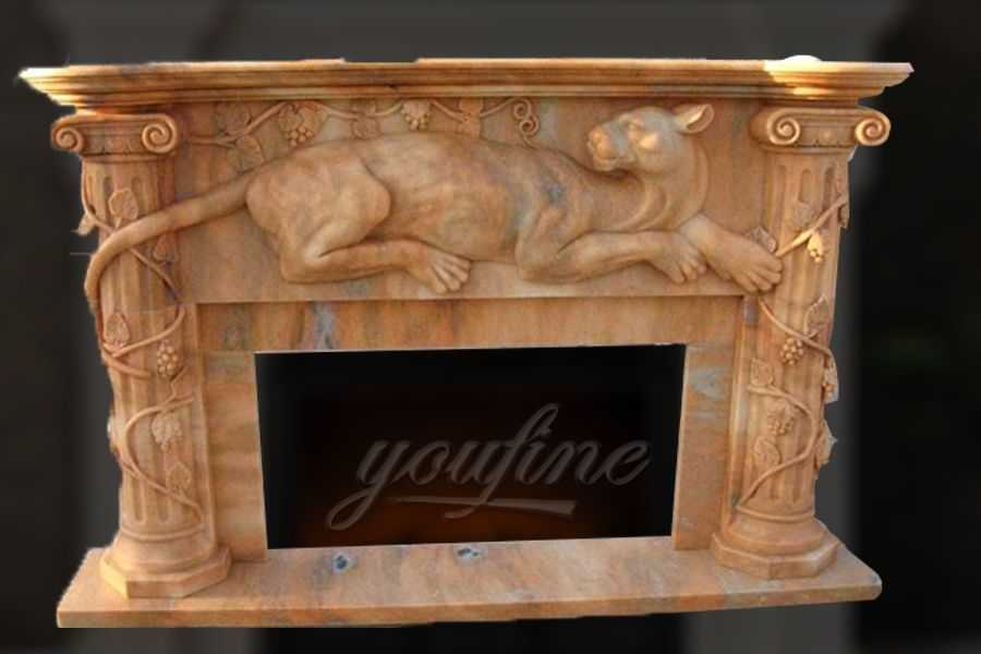 Indoor decorative beige marble fireplace frame with animal for sale